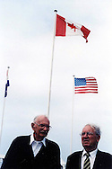 Bob Tackley (left), British D-Day veteran, in Courseulles in June 2004
