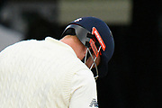 Jonny Bairstow of England has a neck guard fitted to his helmet during the International Test Match 2019 match between England and Australia at Lord's Cricket Ground, St John's Wood, United Kingdom on 18 August 2019.