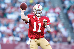 October 10, 2010; San Francisco, CA, USA;  San Francisco 49ers quarterback Alex Smith (11) passes the ball against the Philadelphia Eagles during the first quarter at Candlestick Park.