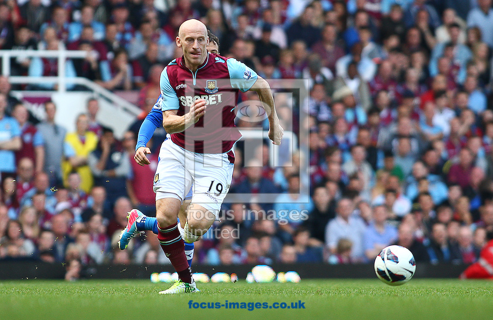 Picture by Rob Fisher/Focus Images Ltd +44 7450 945824.19/05/2013.James Collins of West Ham United chases for the ball during the Barclays Premier League match at the Boleyn Ground, London.