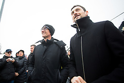 Jakov Fak and Director of Lumar, Marko Lukic during Presentation of new house of Jakov Fak, made by Lumar, on February 26, 2018 in Lesce, Lesce, Slovenia. Photo by Ziga Zupan / Sportida