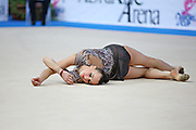 Rizatdinova Anna during final at ribbon in Pesaro World Cup at Adriatic Arena on April 27, 2013. Anna was born July 16, 1993 in Simferopol, she is a Ukrainian individual rhythmic gymnast.