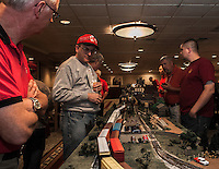 The Gilford Room at the Margate is host to a room filled with Model Trains and elaborate setups for operation through Sunday.  (Karen Bobotas/for the Laconia Daily Sun)