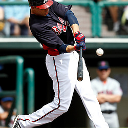March 5, 2011; Lake Buena Vista, FL, USA; Atlanta Braves outfielder Joe Mather (4) during a spring training exhibition game against the New York Mets at Disney Wide World of Sports complex.  Mandatory Credit: Derick E. Hingle