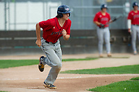 KELOWNA, BC - JULY 16:  Ryan Altenberger #1 of the Wenatchee Applesox runs for first base against the the Kelowna Falcons at Elks Stadium on July 16, 2019 in Kelowna, Canada. (Photo by Marissa Baecker/Shoot the Breeze)