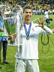 Cristiano Ronaldo of Real Madrid with UEFA Champions League trophy, Coupe des clubs Champions Europeens during the UEFA Champions League final between Real Madrid and Liverpool on May 26, 2018 at NSC Olimpiyskiy Stadium in Kyiv, Ukraine