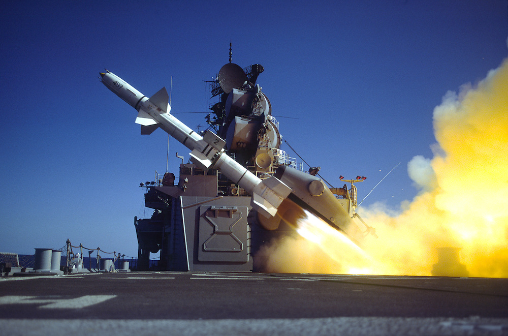 Talos long range surface to air missile launch, USS Chicago, CG-11