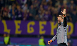 MARIBOR, SLOVENIA - Tuesday, October 17, 2017: Liverpool's manager Jürgen Klopp waves to the supporters after the 7-0 victory during the UEFA Champions League Group E match between NK Maribor and Liverpool at the Stadion Ljudski vrt. (Pic by David Rawcliffe/Propaganda)