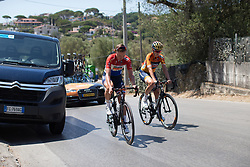 Chantal Blaak (NED) and Nikki Brammeier (GBR) of Boels-Dolmans Cycling Team ride back to the team bus after signing on for Stage 9 of the Giro Rosa - a 122.3 km road race, between Centola fraz. Palinuro and Polla on July 8, 2017, in Salerno, Italy. (Photo by Balint Hamvas/Velofocus.com)