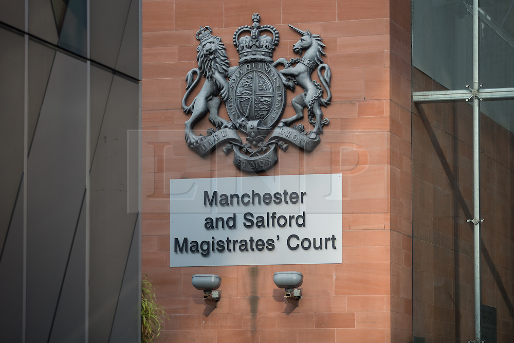 "© Licensed to London News Pictures . Manchester , UK . GV of Manchester and Salford Magistrates' Court as today (23rd July 2015) Liam Edwards has been sentenced to a four-week curfew to run between 2100 and 0700 at Manchester Magistrates' Court . Edwards was charged with Causing Racially or Religiously Aggravated Criminal Damage . On 18th February 2015 , stickers reading "" Beware! Halal is barbaric and funds terrorism "" were placed by Edwards on products and displays in Sainsbury's supermarket , on Regent Road in Salford . Photo credit : Joel Goodman/LNP"