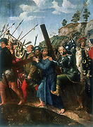 Jesus on the road to Calvary. Jesus, wearing crown of thorns carrying his cross, urged on by soldier.  Michiel Sittow (1469-1525).   Oil on wood.