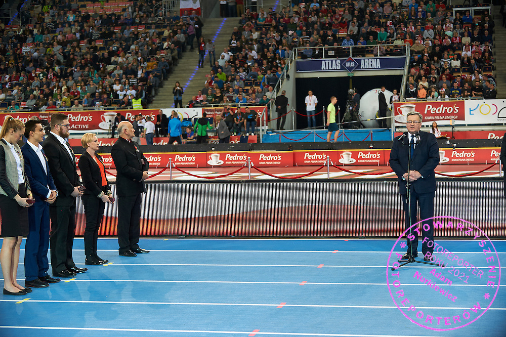 (L-R) Kamila Licwinko and Adam Kszczot and Pawel Fajdek and Lidia Chojecka Leandro all with The Cross of Merit and trainer Edward Szymczak with The Order of Polonia Restituta and Bronislaw Komorowski - President of Poland during athletics meeting Pedro's Cup at Atlas Arena in Lodz, Poland.<br /> <br /> Poland, Lodz, February 17, 2015<br /> <br /> Picture also available in RAW (NEF) or TIFF format on special request.<br /> <br /> For editorial use only. Any commercial or promotional use requires permission.<br /> <br /> Adam Nurkiewicz declares that he has no rights to the image of people at the photographs of his authorship.<br /> <br /> Mandatory credit:<br /> Photo by &copy; Adam Nurkiewicz / Mediasport
