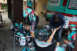 Francesca Cauz (ITA) of Giusfredi Bianchi Cycling Team gets a final leg rub before Stage 2 of the Emakumeen Bira - a 90.8 km road race, starting and finishing in Markina Xemein on May 18, 2017, in Basque Country, Spain. (Photo by Balint Hamvas/Velofocus)