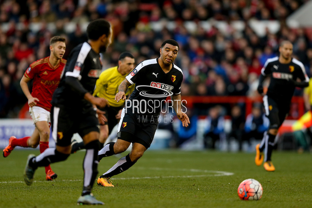 Watford forward Troy Deeney  wants the ball during the The FA Cup fourth round match between Nottingham Forest and Watford at the City Ground, Nottingham, England on 30 January 2016. Photo by Simon Davies.