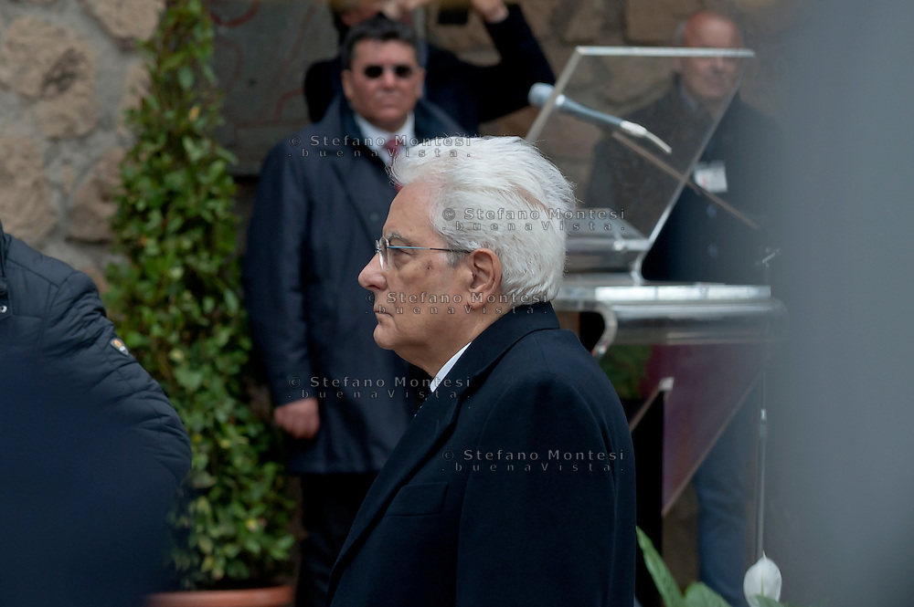 Commemoration for the 72th anniversary of the massacre  Fosse Ardeatine, made in Rome by the occupation troops of Nazi Germany, the  March 24, 1944, were killed, 335 civilians and Italian soldiers. Pictured: The President of the Republic Sergio Mattarella.  Rome Italy.  March 23, 2016.