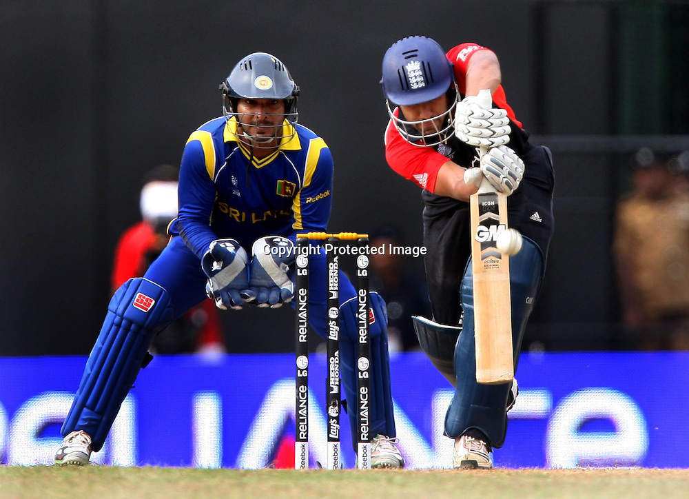 England batsman Ravi Bopara plays a shot against Sri Lanka during the ICC Cricket World Cup - 4th Quarter-Final Played at R Premadasa Stadium, Colombo