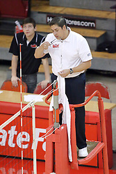 17 October 2014:  up official checks his glasses during an NCAA Missouri Valley Conference (MVC) womens volleyball match between the Northern Iowa Panthers and the Illinois State Redbirds for 1st place in the conference at Redbird Arena in Normal IL