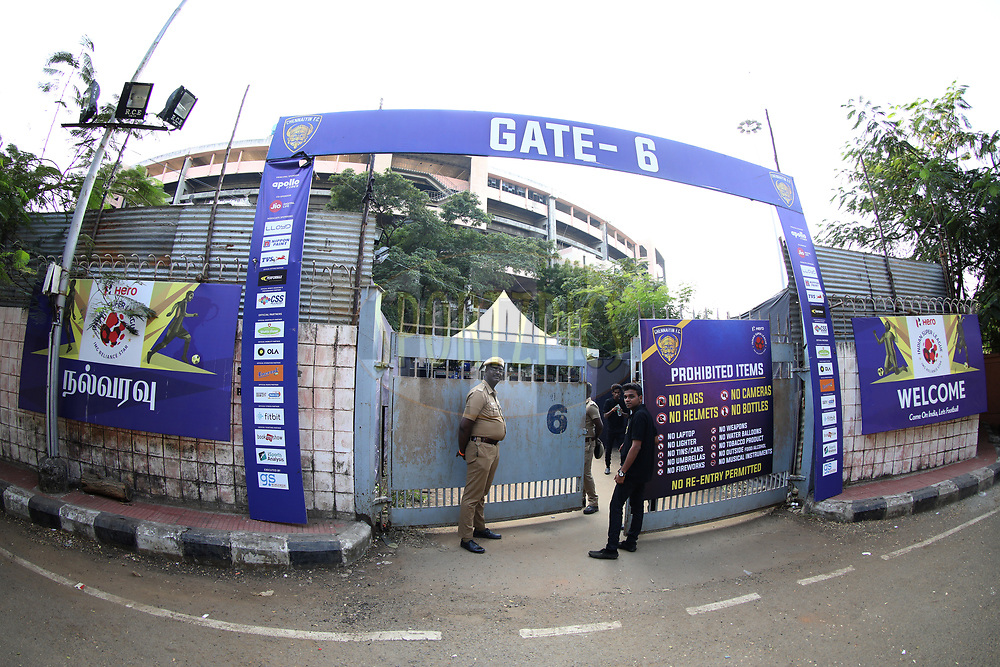 General view of gates during match 41 of the Hero Indian Super League between Chennaiyin FC and Delhi Dynamos FC   held at the Jawaharlal Nehru Stadium, Chennai India on the 7th January 2018<br /> <br /> Photo by: Arjun Singh  / ISL / SPORTZPICS