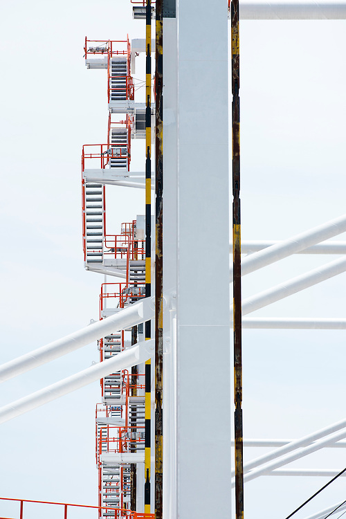 (photo by Matt Roth).Wednesday, July 11, 2012.Assignment ID: 30128574A..A series of stairs line one of the four super-post Panamax crane's legs at The Port of Baltimore's Seagirt Marine Terminal Wednesday, July 11, 2012. ..Once the building, testing and training is finished, the Seagirt terminal will join Norfolk, VA as one of the only two ports on the East Coast which can unload new Panamax sized container ships. The cranes are expected to be fully operational in September of this year.