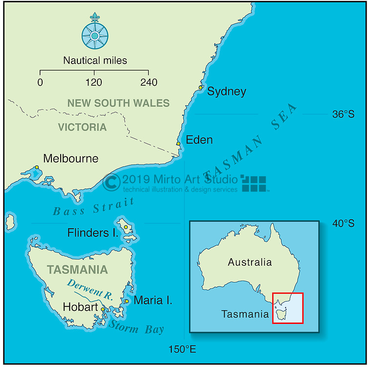 Vector map of Tasmania with locator map