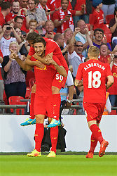 LONDON, ENGLAND - Saturday, August 6, 2016: Liverpool's Marko Grujic celebrates scoring the fourth goal against Barcelona during the International Champions Cup match at Wembley Stadium. (Pic by Xiaoxuan Lin/Propaganda)