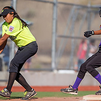 070113       Cable Hoover<br /> <br /> Din&eacute; Nation Wildcat Hannah Smiley (7) reches for the ball as Grants Dynamite Britteny Baca (16) tags up on third during the district tournament Monday at Ford Canyon Park in Gallup.
