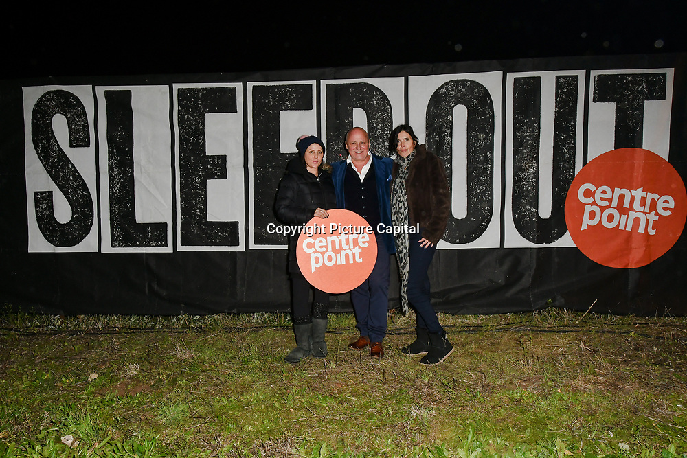 Sadie Frost, Aldo Zilli and guest join Sleep Out fundraiser to help homeless young people at Greenwich Peninsula Quay on 15 November 2018, London, UK.