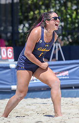 April 7, 2018 - Tucson, AZ, U.S. - TUCSON, AZ - APRIL 07: California Golden Bears Mia Merino (1) celebrates a point during a college beach volleyball match between the California Golden Bears and the Arizona Wildcats on April 07, 2018, at Bear Down Beach in Tucson, AZ. Arizona defeated California 3-2. (Photo by Jacob Snow/Icon Sportswire (Credit Image: © Jacob Snow/Icon SMI via ZUMA Press)