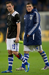 03.11.2011, Veltins Arena, Gelsenkirchen, GER, UEFA Europa League, FC Schalke 04 (GER) vs AEK Larnaca FC (CYP), im Bild Marco Hoeger (#12 Schalke) und Kyriakos Papadopoulos (#14 Schalke) nach dem Spiel // during FC Schalke 04 (GER) vs AEK Larnaca FC (CYP) at Veltins Arena, Gelsenkirchen, GER, 2011-11-03. EXPA Pictures © 2011, PhotoCredit: EXPA/ nph/  Kurth       ****** out of GER / CRO  / BEL ******