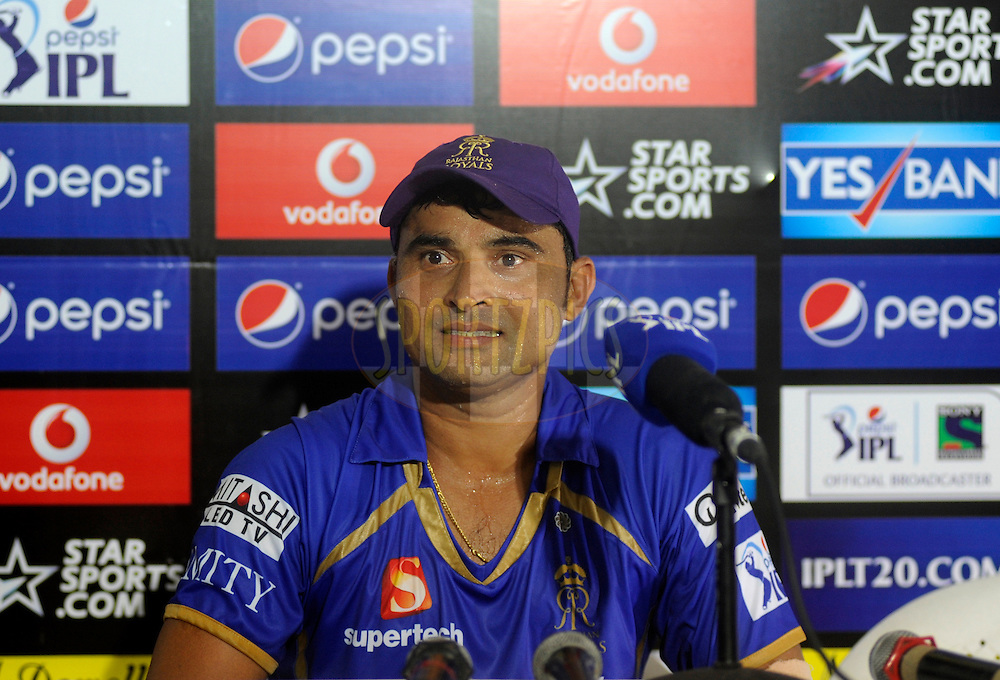 Pravin Tambe of the Rajatshan Royals addresses a press conference after  match 25 of the Pepsi Indian Premier League Season 2014 between the Rajasthan Royals and the Kolkata Knight Riders held at the Sardar Patel Stadium, Ahmedabad, India on the 5th May  2014<br /> <br /> Photo by Pal Pillai / IPL / SPORTZPICS      <br /> <br /> <br /> <br /> Image use subject to terms and conditions which can be found here:  http://sportzpics.photoshelter.com/gallery/Pepsi-IPL-Image-terms-and-conditions/G00004VW1IVJ.gB0/C0000TScjhBM6ikg