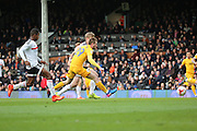 Preston North End forward Tom Barkhuizen (29) celebrating after scoring 2-1 during the EFL Sky Bet Championship match between Fulham and Preston North End at Craven Cottage, London, England on 4 March 2017. Photo by Matthew Redman.