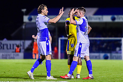 Michael Kelly of Bristol Rovers celebrates scoring his sides second goal of the game  with Edward Upson of Bristol Rovers  - Mandatory by-line: Ryan Hiscott/JMP - 23/10/2018 - FOOTBALL - Memorial Stadium - Bristol, England - Bristol Rovers v AFC Wimbledon - Sky Bet League One