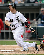 CHICAGO - APRIL 21:  Todd Frazier #21 of the Chicago White Sox bats against the Los Angeles Angels of Anaheim on April 21, 2016 at U.S. Cellular Field in Chicago, Illinois.  The Angels defeated the White Sox 3-2.  (Photo by Ron Vesely)   Subject: Todd Frazier