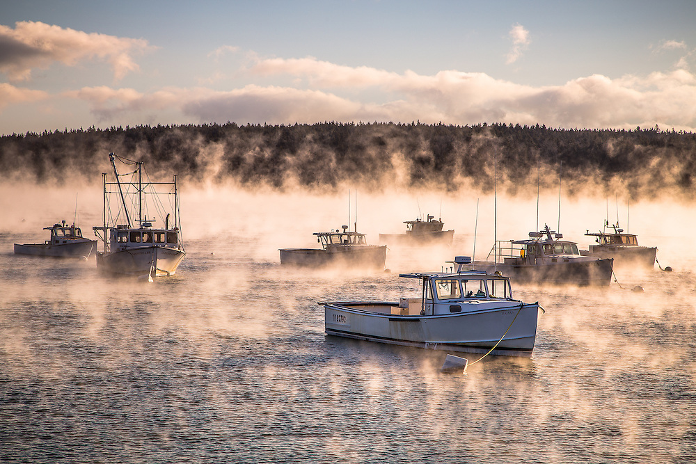As expected, this morning was an excellent opportunity to witness an outbreak of arctic sea smoke. Doug and I got up at 4 and drove out to Rockland. We photographed the Breakwater for sunrise, and then drove over to Owls Head Harbor to witness this scene. I don't have to describe how cold it was here. The photo does it for me.