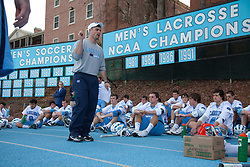 14 February 2009: North Carolina Tar Heels assistant coach Pat Myers during the halftime of a 20-7 win over the Denver Pioneers on Fetzer Field in Chapel Hill, NC.
