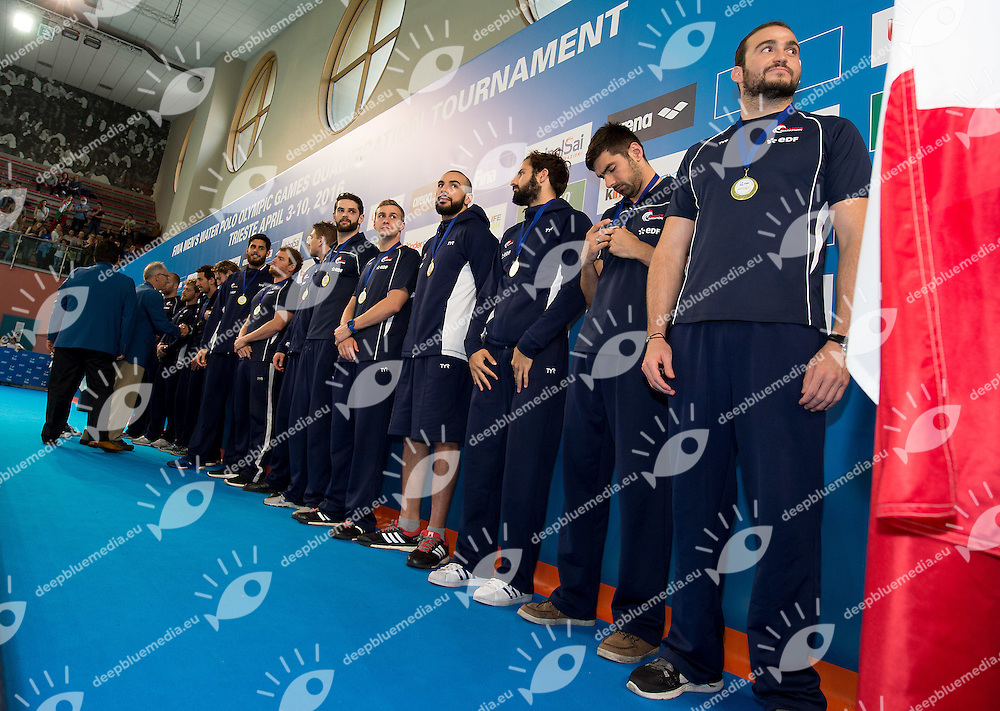 Team FRA awarded for Olympic qualification, fourth qualified<br /> FINA Men's Water polo Olympic Games Qualifications Tournament 2016<br /> Final 1st place<br /> Hungary HUN (White) Vs Italy ITA (Blue)<br /> Trieste, Italy - Swimming Pool Bruno Bianchi<br /> Day 08  10-04-2016<br /> Photo G.Scala/Insidefoto/Deepbluemedia