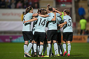 The Belgium team celebrate Janice Cayman's (Belgium) goal during the Euro 2017 qualifier between England Ladies and Belgium Ladies at the New York Stadium, Rotherham, England on 8 April 2016. Photo by Mark P Doherty.
