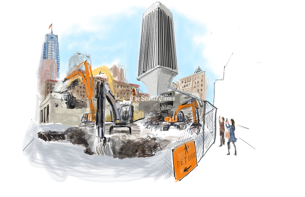 The sound of cranes digging in the rubble and pounding on half-demolished walls was louder than the morning traffic going by. The Seattle Sketcher stood at the corner of Fourth Avenue and Union Street watching the wrecking ball come down on the shopping center adjacent to Rainier Tower. (Gabriel Campanario / The Seattle Times)