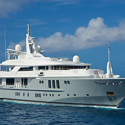 M/Y Siren approaches the anchorage of Iles des Saintes, Guadeloupe.
