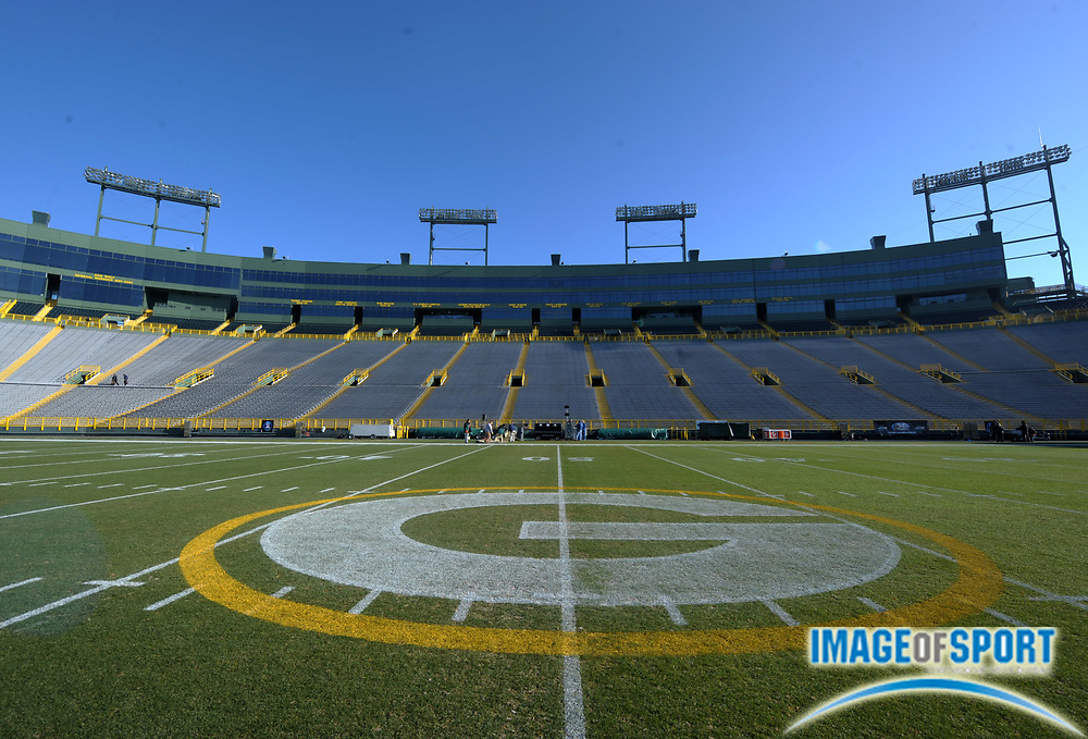 Dec 11, 2011; Green Bay, WI, USA; General view of the Green Bay Packers logo at midfield at Lambeau Field before the game against the Oakland Raiders.