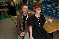 Jesse McLin and Julie Progin owners and founders of Latitude Design Studio photographed in their Hong Kong studio where they create unique porcelain products.