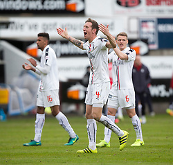 Falkirk's first goal scorer Aaron Muirhead at the end. Dunfermline 1 v 2 Falkirk, Scottish Championship game played 22/4/2017 at Dunfermline's home ground, East End Park.