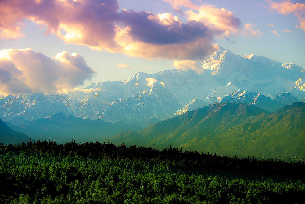 Denali (The Great One) in vivid color as the sun sets in August in Alaska.