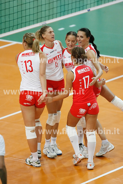 LE MINETTINE ESULTANO<br /> MINETTI VICENZA - MONTESCHIAVO JESI<br /> CAMPIONATO ITALIANO VOLLEY A1-F 2008-2009<br /> FOTO FILIPPO RUBIN - JOY VOLLEY VICENZA