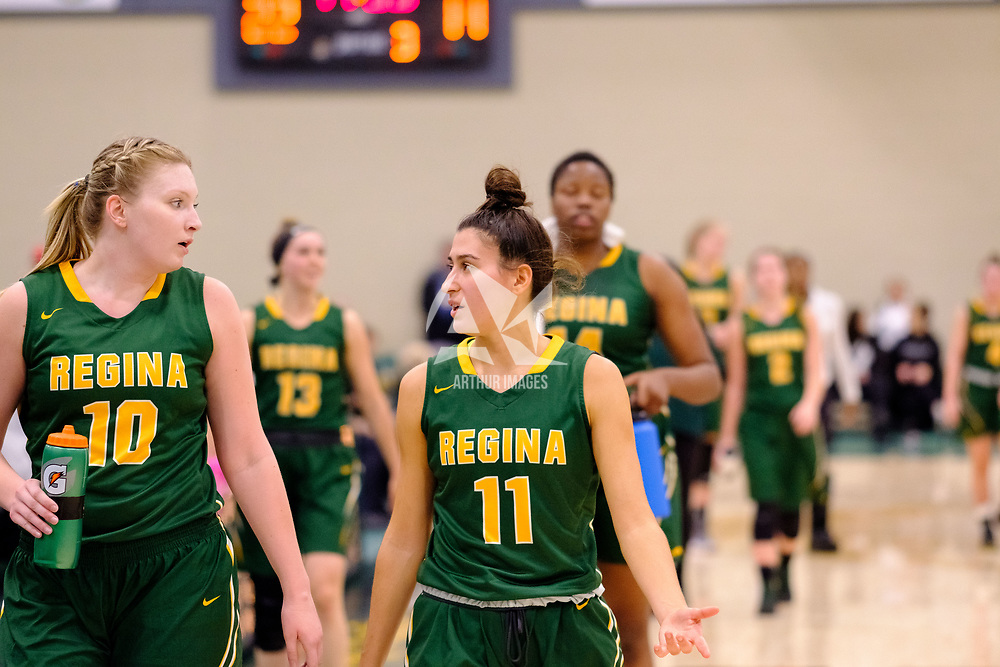 4th year forward, Alexi Rowden (10) of the Regina Cougars and 2nd year guard, Carolina Goncalves (11) of the Regina Cougars  during the Regina Cougars vs Lethbridge on November 3 at University of Regina. Credit Matte Black Photos/©Arthur Images 2018
