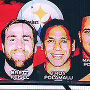 The NFL Pro Bowl honored Troy Polamalu and other Pro Bowl selectees who were not present on high tech screens, as they were preparing for next weeks Super Bowl. 1/30/11, Photo by Barry Markowitz