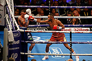 Kid Galahad lands a punch during the IBF World Featherweight Championship between Josh Warrington and Kid Galahad at First Direct Arena, Leeds, United Kingdom on 15 June 2019.