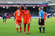 Luton Town forward Kazenga LuaLua (25) scores a goal and celebrates 3-0 during the EFL Sky Bet League 1 match between Luton Town and Doncaster Rovers at Kenilworth Road, Luton, England on 23 March 2019.