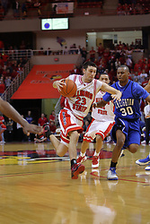 03 January 2009: Inside the last minute of play, Landon Shipley charges the planks defended by Antoine Young. The Illinois State University Redbirds extended their record to 14-0 with a 86-64 win over the Creighton Bluejays on Doug Collins Court inside Redbird Arena on the campus of Illinois State University in Normal Illinois