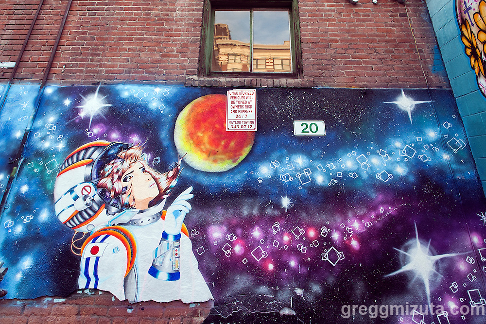 Jamie Campbell's mural on display during Freak Alley Gallery sixth annual mural event in downtown Boise, Idaho on August 13, 2016. <br /> <br /> Freak Alley Gallery's week long event provided an &quot;art-in-motion&quot; experience as it welcomed the public to watch artists work on their murals.